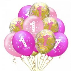 15 delige ballonnen set First Birthday Girl roze goud en wit