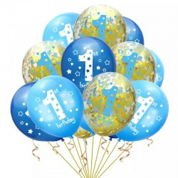15 delige ballonnen set First Birthday Boy blauw goud en wit