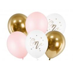 Ballon set One roze wit goud 6 delig