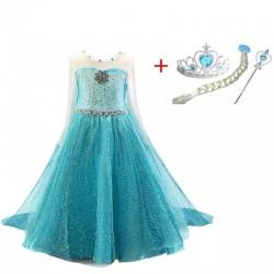 5 delige Elsa prinsessen outfit Frozen IJsblauw