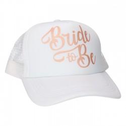 Cap Bride to Be wit met glanzend rose gouden opdruk