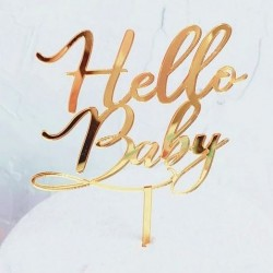 Acryl taart topper Hello Baby goud