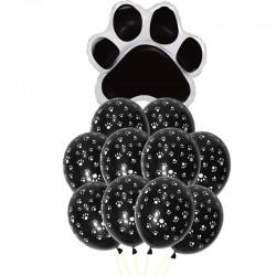 7-delige set Honden ballonnen Paws zwart
