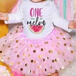 2-delig 1e verjaardag setje One in a Melon Pink and Dots