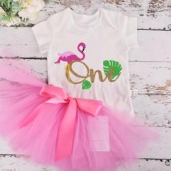 2-delig 1e verjaardag setje Flamingo