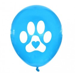 5 honden ballon Dog Lover blauw met wit