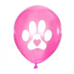 5 honden ballon Dog Lover roze met wit