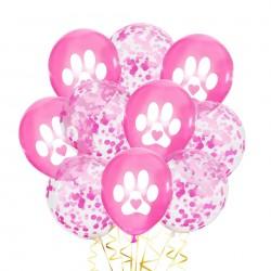 10 ballonnen Dog Lover roze met wit en confetti
