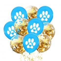 10 ballonnen Dog Lover blauw met wit en gouden confetti
