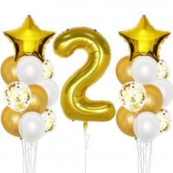 Ballonmix voor de tweede verjaardag in de kleuren wit en goud