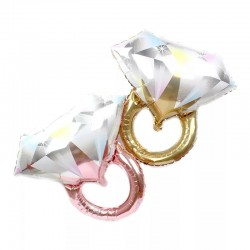 Grote folie ballon trouwring geel of rose goud