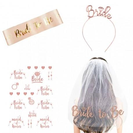 4 delige Bride to Be vrijgezellenfeest set rose goud