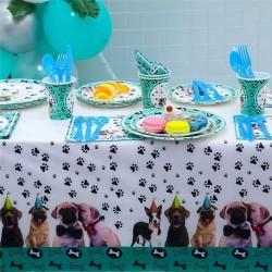 Honden party tafelkleed met diverse honden rassen