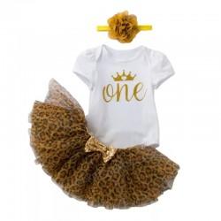 1e Verjaardag set One Wild Princess wit goud bruin