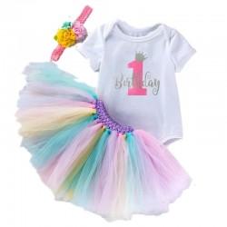 1e Verjaardag set Birthday Princess wit zilver roze en pastel