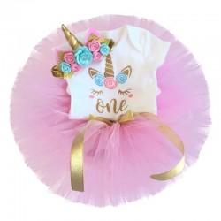 3-delig 1e verjaardag setje Unicorn met roze tutu