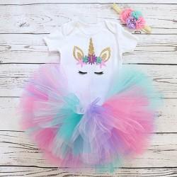 3-delig 1e verjaardag setje Charming One Unicorn