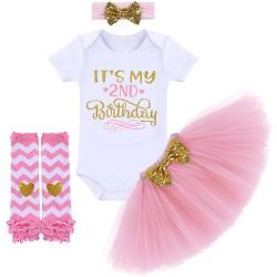 4-delig 2e verjaardag setje It's My 2nd Birthday wit en goud en licht roze