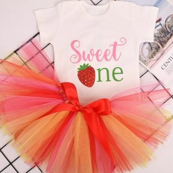 1e verjaardag Cakesmash setje Sweet One Stawberry 2-delig