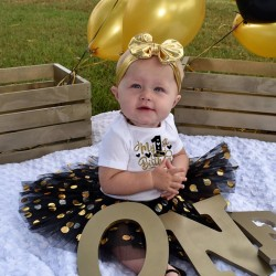 2-delig 1e verjaardag My First Birthday Black White and Gold Dots