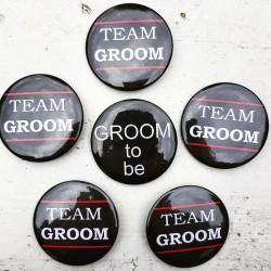 6 delige Button set Groom to Be en Team Groom