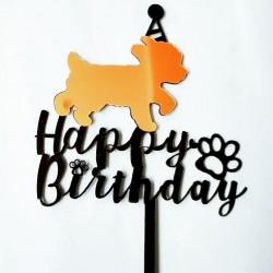 Acryl taart topper Happy Birthday voor de hond goud met zwart