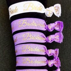 Elastische armbanden set Bride wit en Bridesmaid lila