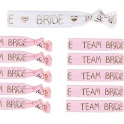11-delige elastische armbanden set Bride wit en Team Bride roze