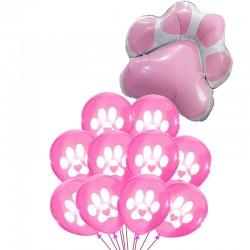 11-delige set Honden ballonnen Paws roze