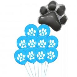 11-delige set Honden ballonnen Paws blauw