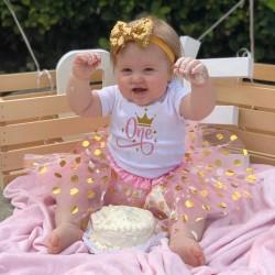 2-delig 1e verjaardag setje Birthday Queen Pink and Dots