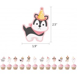 12 cupcake toppers Cute Dogs roze met wit