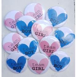 12 Buttons Team Girl en Team Boy Loving Heart