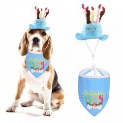 2 delige verjaardagset met hoed en bandana voor de hond blauw