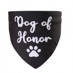 Honden bandana zwart met in wit Dog of Honor