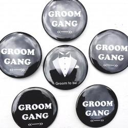 6-delige Button set Groom to Be en Groom Gang zwart