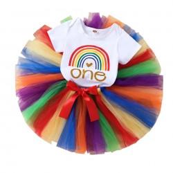 1e Verjaardag set Birthday Rainbow Colours 2-delig