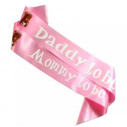 Babyshower sjerpen set Mommy en Daddy to be met beertjes roze