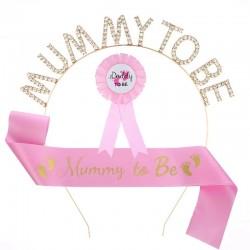 Babyshower set met Sjerp en diadeem Mummy to Be roze en rozet Daddy to be 3-delig