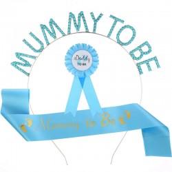 Babyshower set met Sjerp en diadeem Mummy to Be blauw en rozet Daddy to be