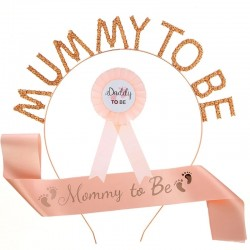 Babyshower set met Sjerp en diadeem Mummy to Be rosé goud en rozet Daddy to be
