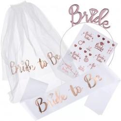 Bride to Be set wit met rosé goud 4-delig