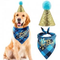 2-delige Honden verjaardags set Happy Birthday blauw