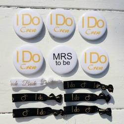 12-delige set met 6 elastische armbanden en 6 buttons Bride to Be en I Do Crew