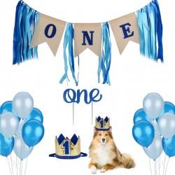 23-delige honden verjaardag set in de kleuren blauw met goud