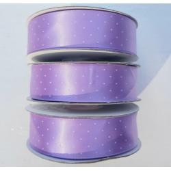 3 rollen satijn lint lila met witte stipjes