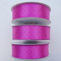 3 rollen satijn lint fuchsia roze met witte stipjes