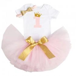 3-delig 1e verjaardag setje voor een meisje in de kleuren wit, goud en licht roze