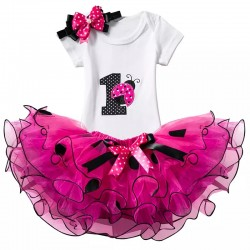 3-delig 1e verjaardag setje Lieveheersbeestje roze, wit en zwart