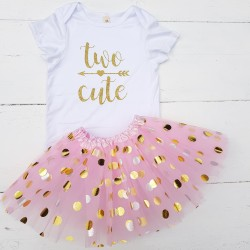2-delig verjaardag setje Two Cute White Pink and Dots